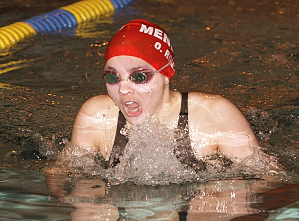 Freshman Olivia Rogus, pictured competing in the 200-meter IM at the Morris County Swimming Championships, has been a key performer for Mendham this season.