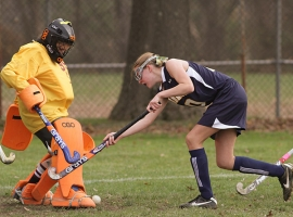 Whippany Park goalie Lisa Foran makes a stop against Pequannock's Kate Weidmann.