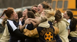 Roxbury celebrates it sectional title victory over West Morris.