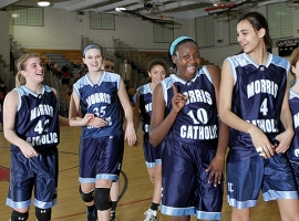 Morris Catholic players celebrate their win over Newark Academy in the Non-Public, North B final.
