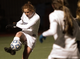Roxbury's Brittany Casola kicks the ball upfield against Northern Highlands.