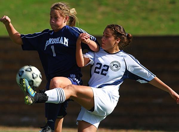 Mendham&#039;s Paige Russell and Randolph&#039;s Dana Shalit battle for the ball.