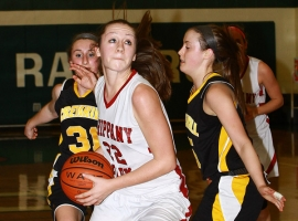 Lauren O&#039;Connor of Whippany Park drives between Cresskill defenders.