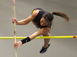 Ashley Tomasula of Mount Olive High School took first place in the pole vault at the Morris County Winter Track Championships.