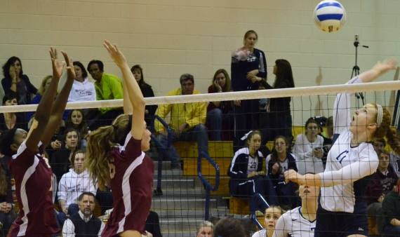 West Morris' Jilliana Zarzycki, right, gets set to put down a kill.