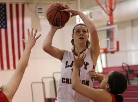 Morgan Bartner of Morristown-Beard scoresa basket against Parsippany.