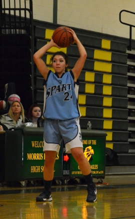 Sparta&#039;s Jacqueline Foley looks for an open teammate.