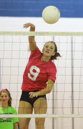Cora Bidlack, pictured during Randolph's Pink Game last week, had nine kills, two aces and three digs in Randolph's MCT semifinal win over Morristown.