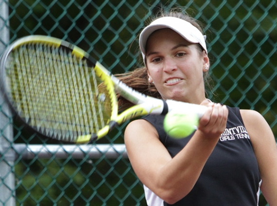 Montville's Kaitlin Sanzone hits a forehand shot during her second singles match.