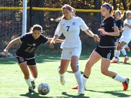 Randolph&#039;s Katja Brockelmanns-Puig, No. 7, moves the ball upfield.