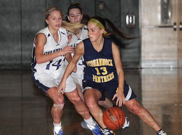 Kathryn Kosmack of Pequannock tries to dribble around Chatham's Amanda Berntsen.