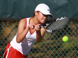 Parsippany's Jenny Kim hits a backhand during her third singles match.