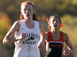 Megan Curham of Villa Walsh finished first in the NJAC Small Schools Division race. Mountain Lakes&#039; Colette Richter was second.