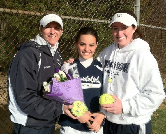 Assistant coach Kristin Torres and head coach Brianne McBreen pose with Randolph shortstop Amanda Magadan, who got her 100th career hit versus West Morris on Monday, April 22.