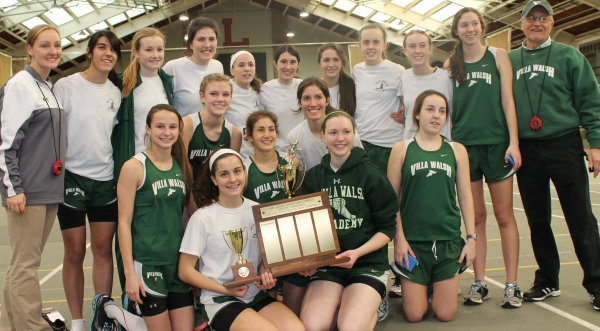 The Villa Walsh indoor track team poses with its Prep B championship trophies.