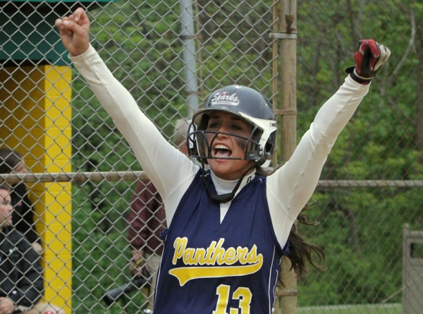 Pequannock's Dana Torchia celebrates after scoring the go-ahead run in the sixth inning.