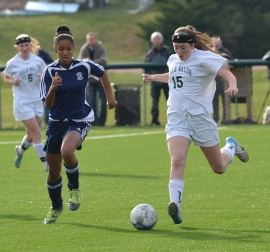 Villa Walsh's Megan Guiltinan, right, controls the ball as Morris Catholic's Stella Johnson closes in.